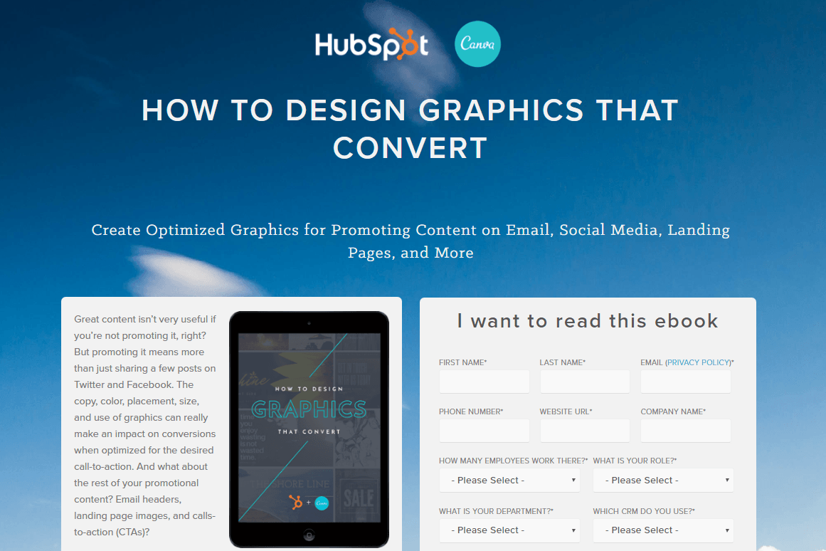 Great landing pages Hubspot + Canva