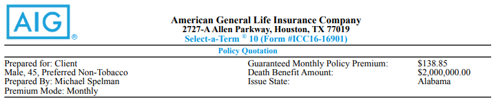 aig life insurance policy for 45 year old