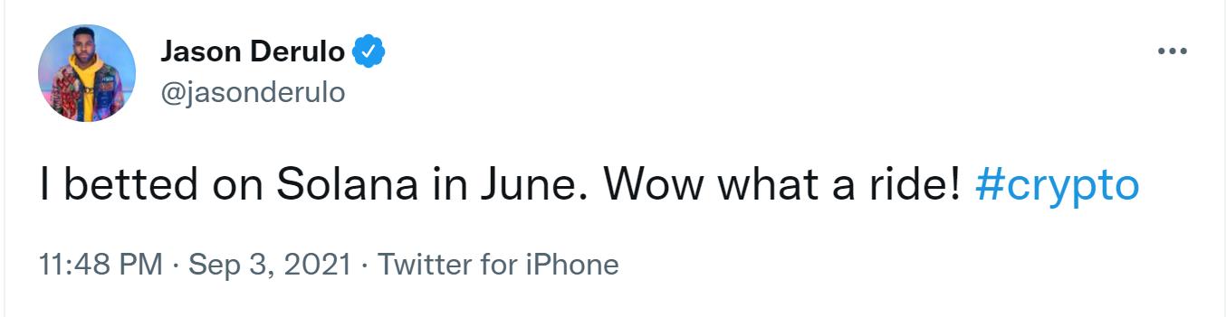 Музыкальная звезда Джейсон Деруло делает ставку на Солану после астрономического скачка цен