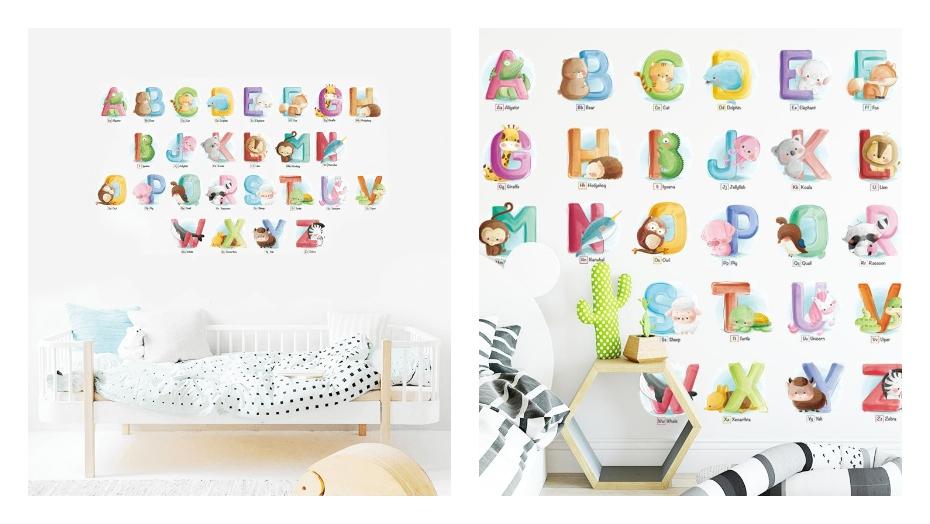 Izglītojošas sienas uzlīmes alfabēts