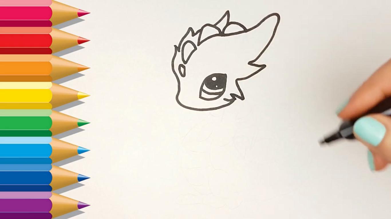 como dibujar un dragon kawaii facilmente