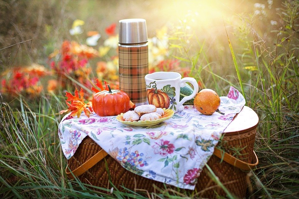 A picnic hamper rests on the grass, with a flask, cakes, fruit, and a teacup set on top of it