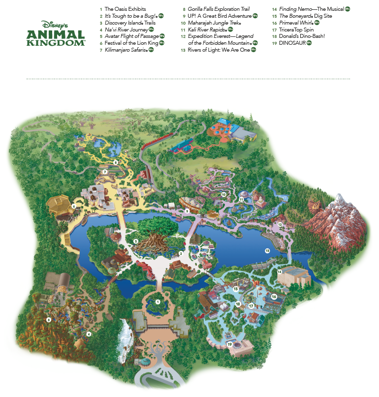 Disney's Animal Kingdom Theme Park Map by Heyday Travel Company, a free Disney vacation planning service