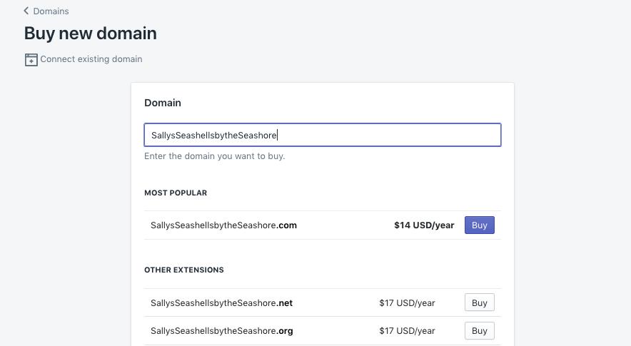 domain kaufen im Shopify website baukasten