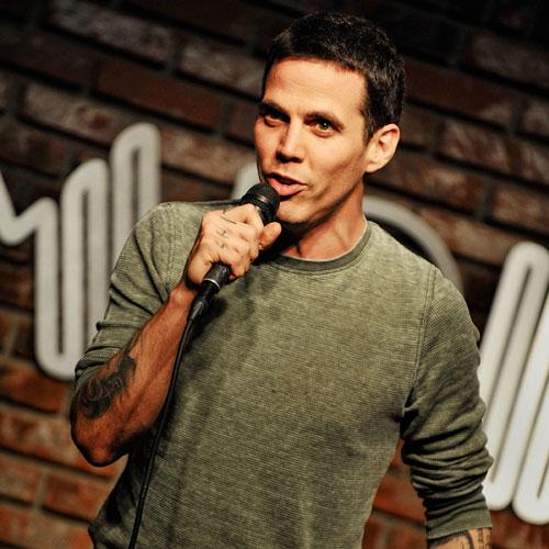 Steve-O speaking to a crowd at a public event.