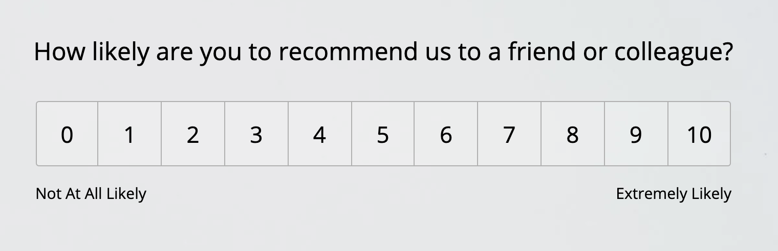 """Example of a Net Promoter Score (NPS) customer satisfaction survey question labeled """"How likely are you to recommend us to a friend or colleague?"""