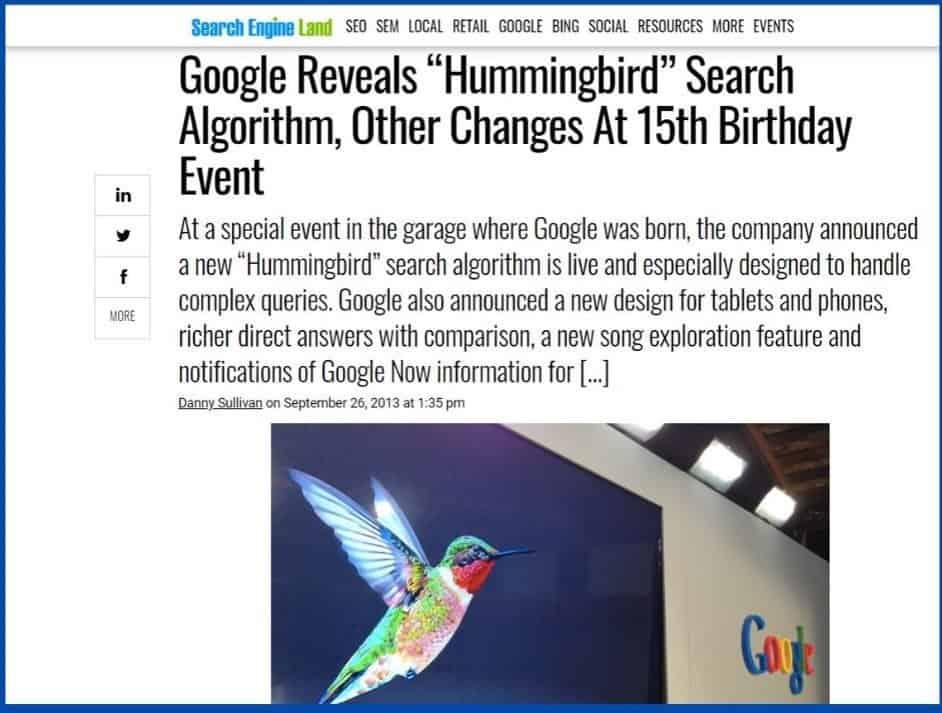 google released hummingbird algorithm - semantic seo favoured update