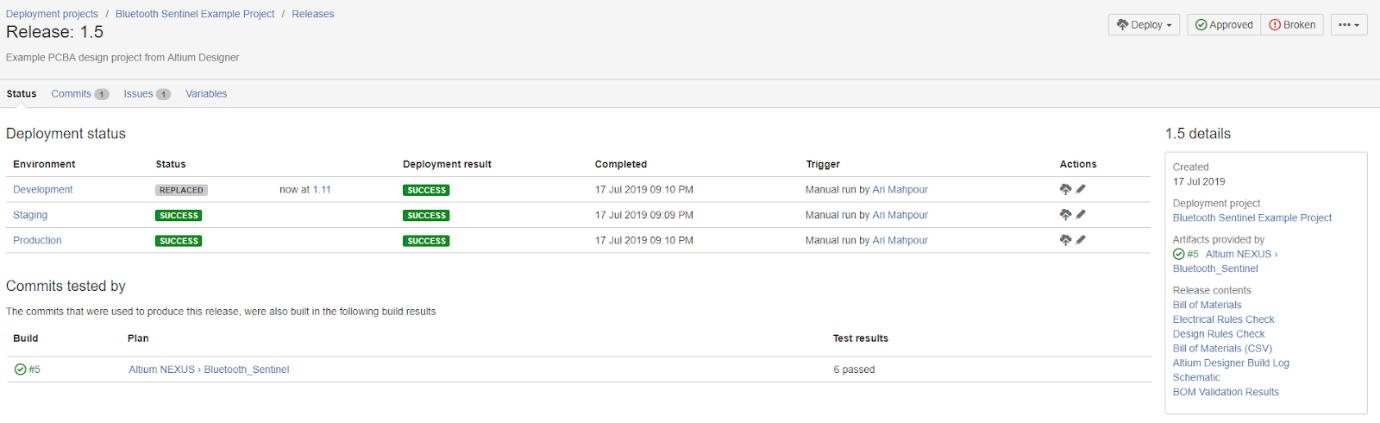 Atlassian Bamboo deployment system configuration screenshot showing your first release.