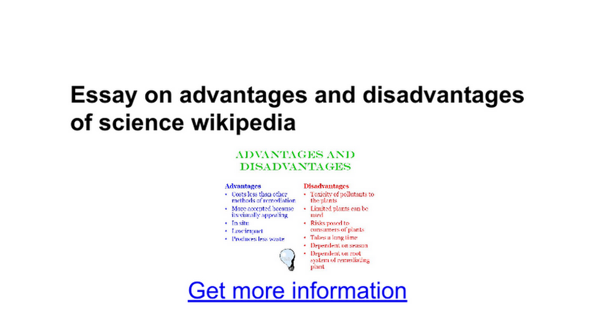 Essay On Advantages And Disadvantages Of Science Wikipedia  Essay On Advantages And Disadvantages Of Science Wikipedia  Google Docs