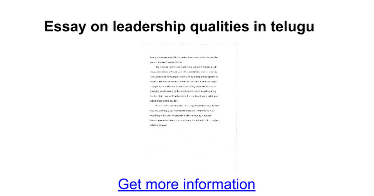 essay on leadership qualities in telugu google docs