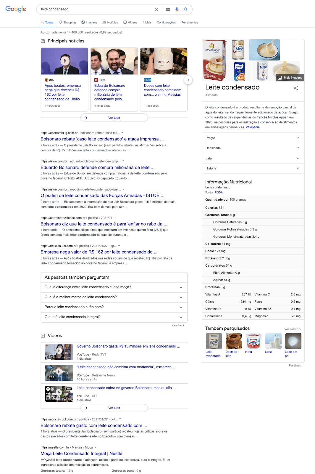 """imagem da serp do google com o resultado da busca para """"leite condensado"""" na época do boom governamental"""