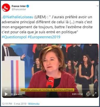 France Inter Nathalie Loiseau j'aurais préféré avoir un adversaire différent de celui-là