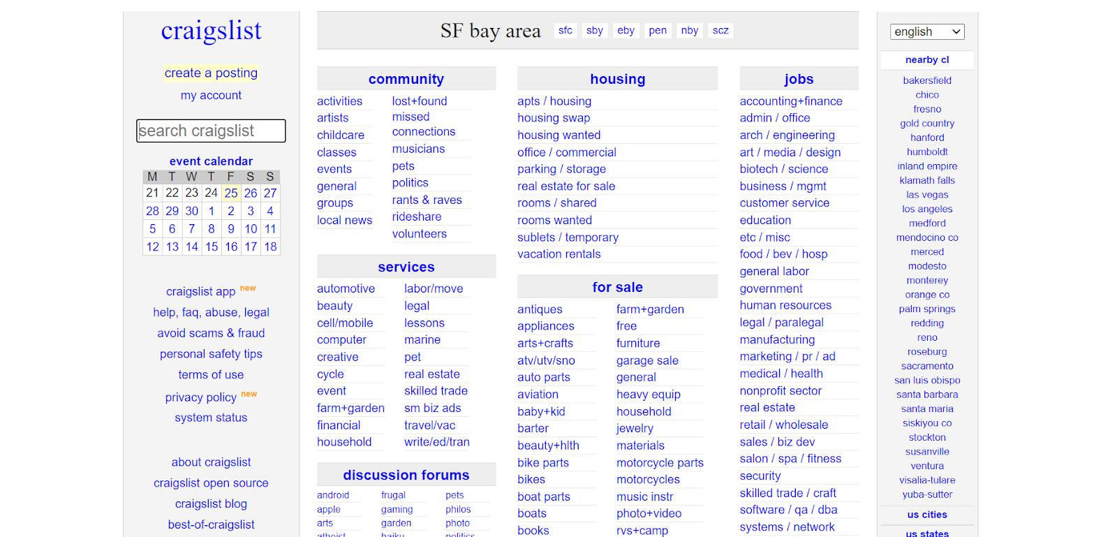 best free advertising sites - Craigslist