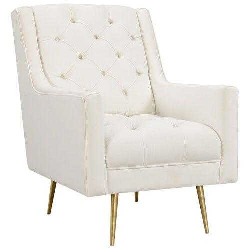 Brielle Polyester Tufted Accent Chair - Cream | Best Buy Canada | Tufted accent  chair, Accent chairs, Chair