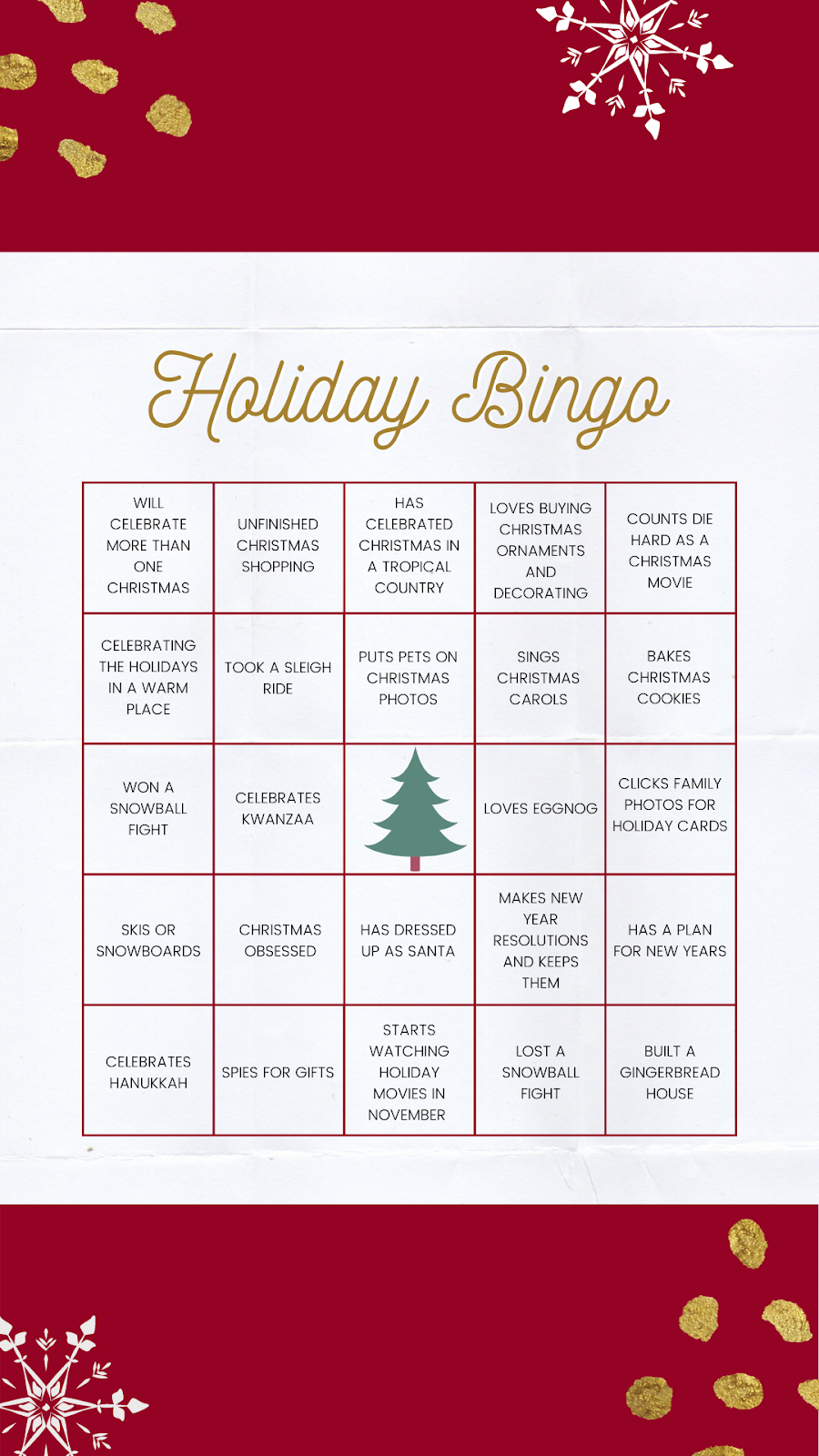 A template for a holiday bingo game, one of the many virtual holiday party ideas for work