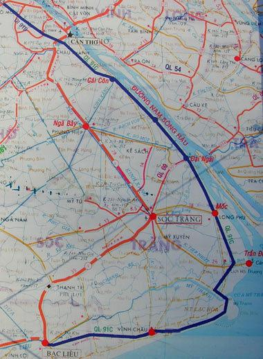 Bình đồ Quốc lộ Nam Sông Hậu (đường màu xanh) còn gọi là Quốc lộ 91C bắt đầu từ Quốc lộ 91B ở TP Cần Thơ đi qua Hậu Giang, Sóc Trăng và đấu nối vào Quốc lộ 1A tại TP Bạc Liêu./.Ảnh: Thiên Phước