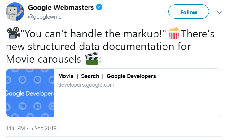 Tweet by Google Webmaster on Structured data for movie carousels.