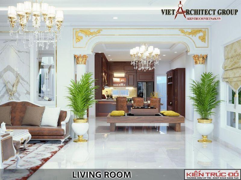thiet ke noi that phong khach biet thu tan co dien 5 - Thiết kế biệt thự 3 tầng kiến trúc tân cổ điển ở Huế