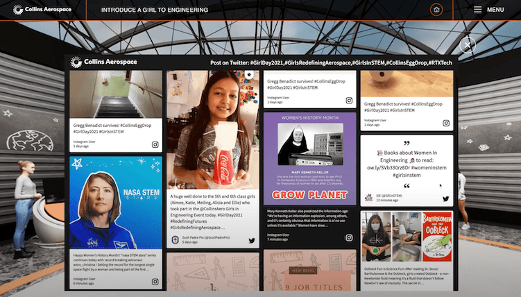 The image shows a social wall embedded on the social media section of the Collins Aerospace virtual event, displaying posts about famous women in the sciences.