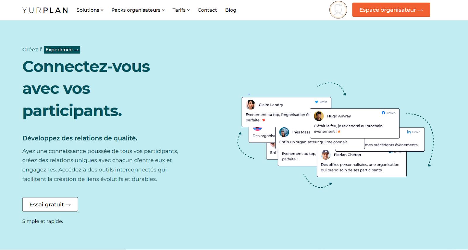 Photo d'un page du site Yurplan présentant l'abonnement Experience et son outil crm