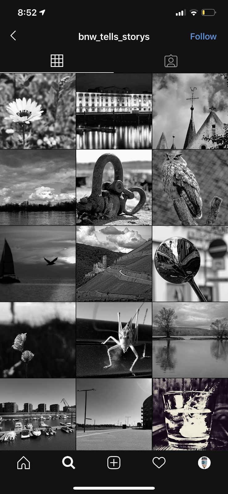 black and white instagram theme