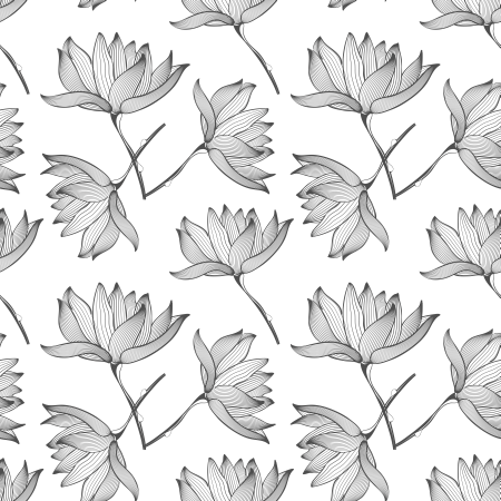 Lotus Flowers Seamless Pattern Background Black and White