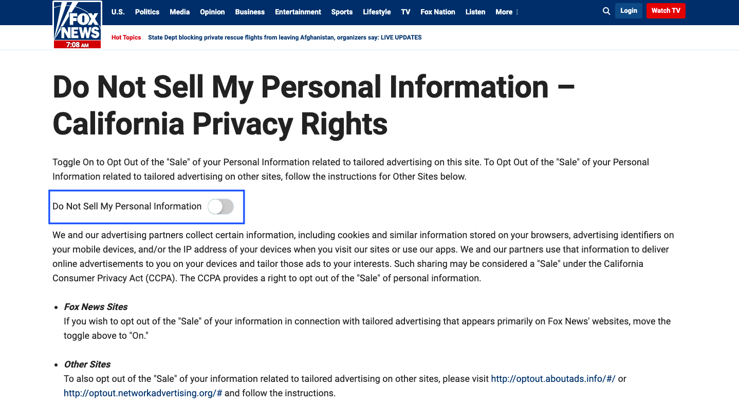 A 'Do not sell my personal information' page on Fox News website.