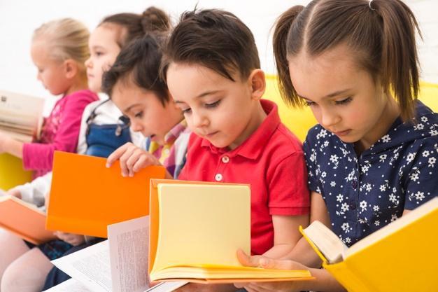 Children group reading books