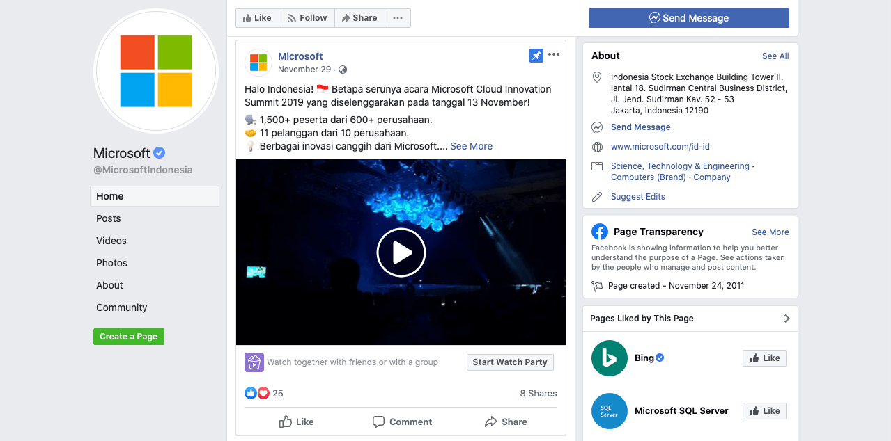 Microsoft Facebook Page
