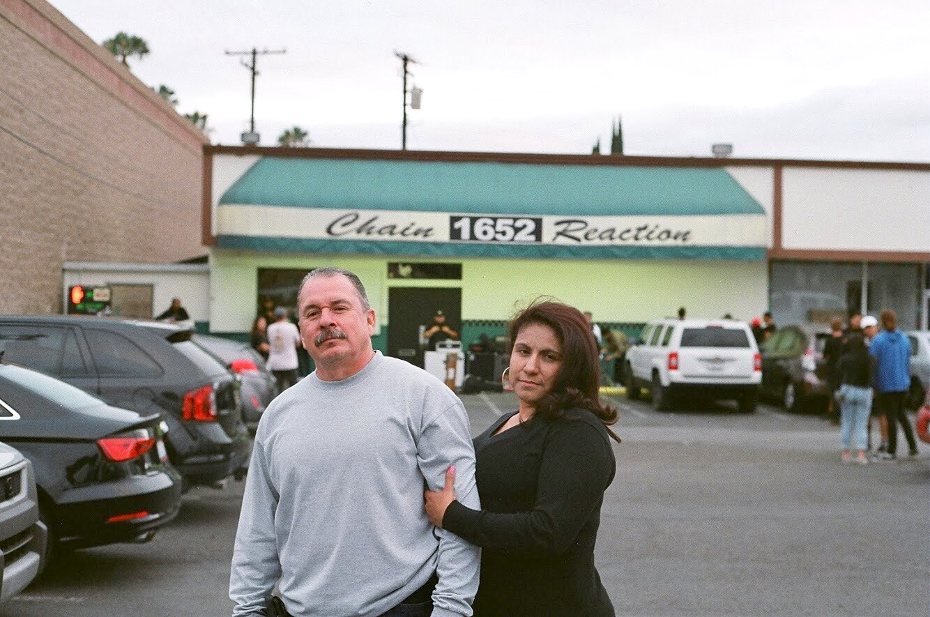 Tony's parents outside the venue of one of his shows
