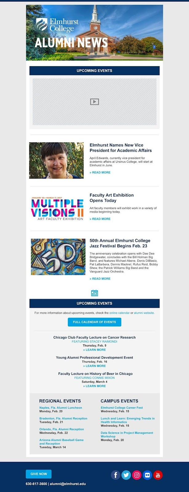 Elmhurst College email example