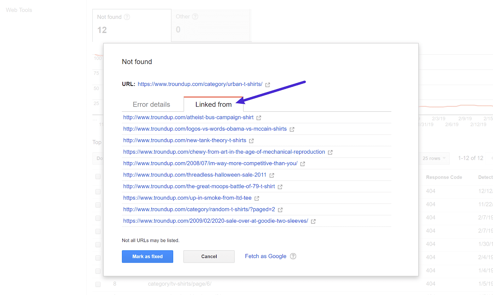 The data collection report allows you to view pages that link to 404 pages