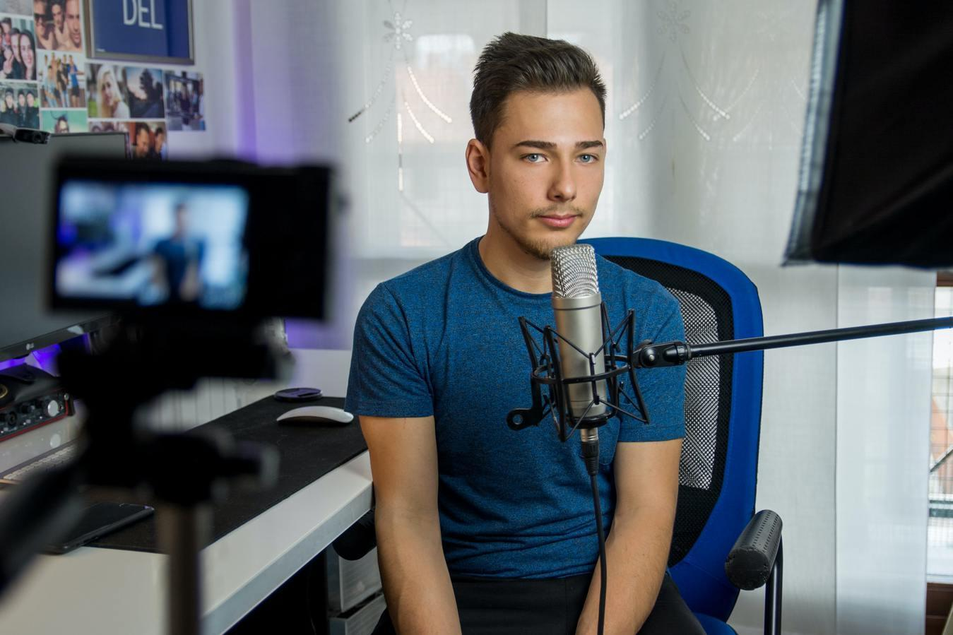 Recording Youtube Video - Young Man Camera Microphone