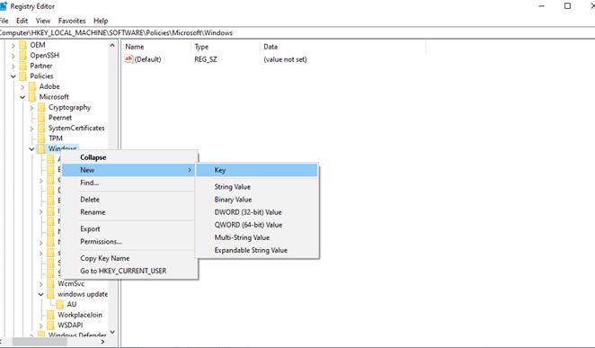 Add new key in registry editor