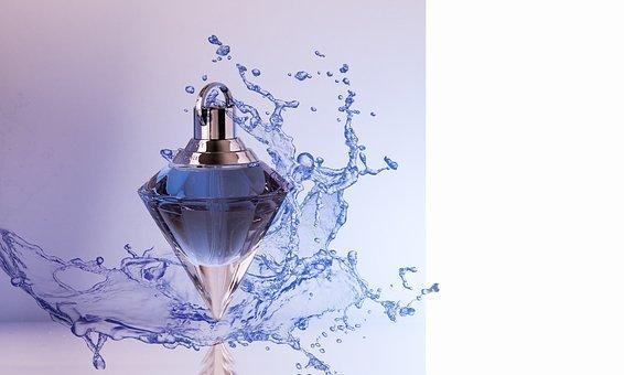 Perfume, Deco, Botella, Goteo, Azul