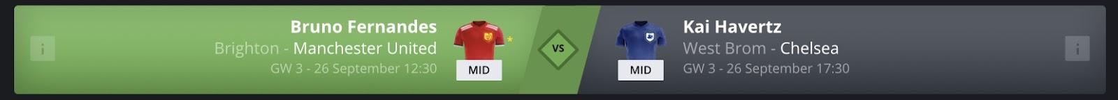 Gameweek 3 FanTeam Player Matchups