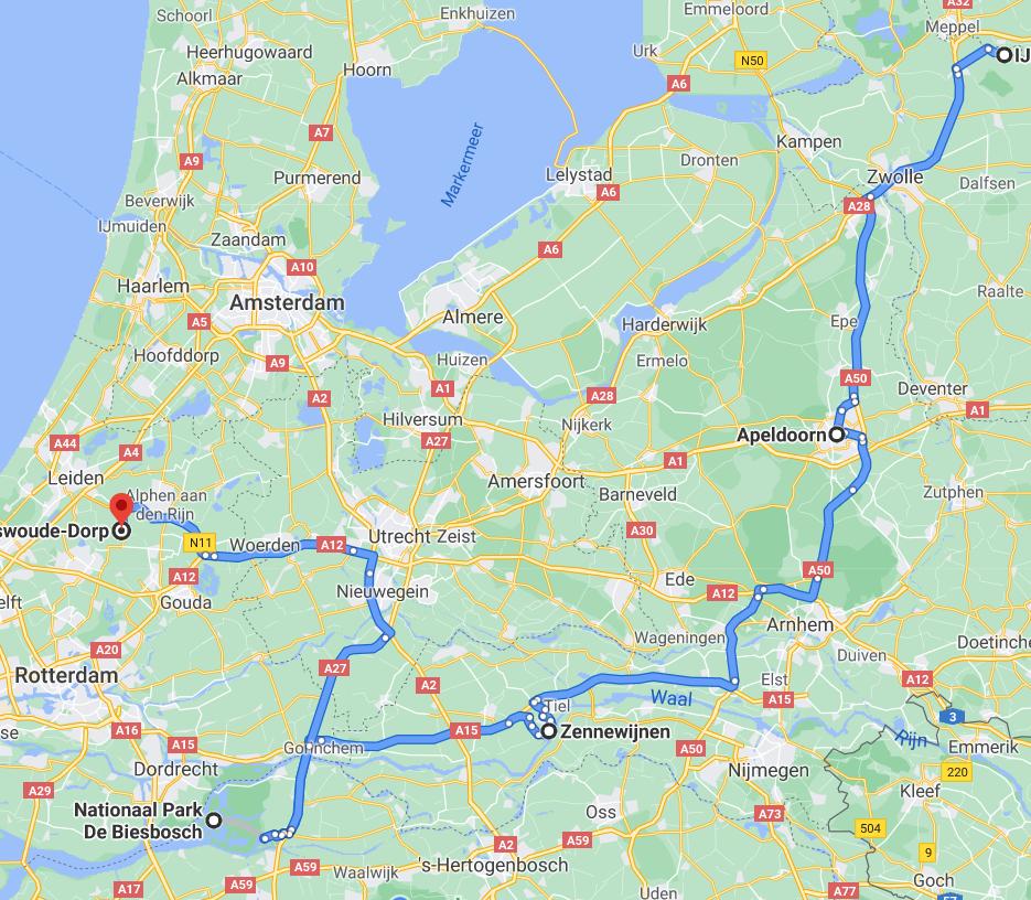 Kaart van Roadtrip door Nederland