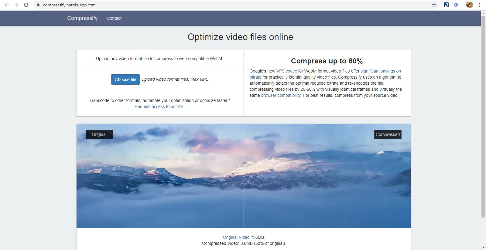 Giảm dung lượng videotrên Compressify rất hữu ích và tiện dụng