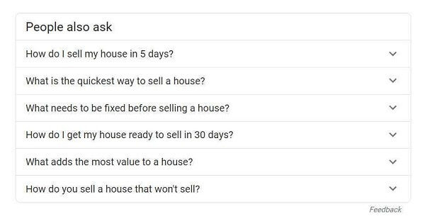 "People Also Ask SERP Feature for-""How To Sell A House Fast"""