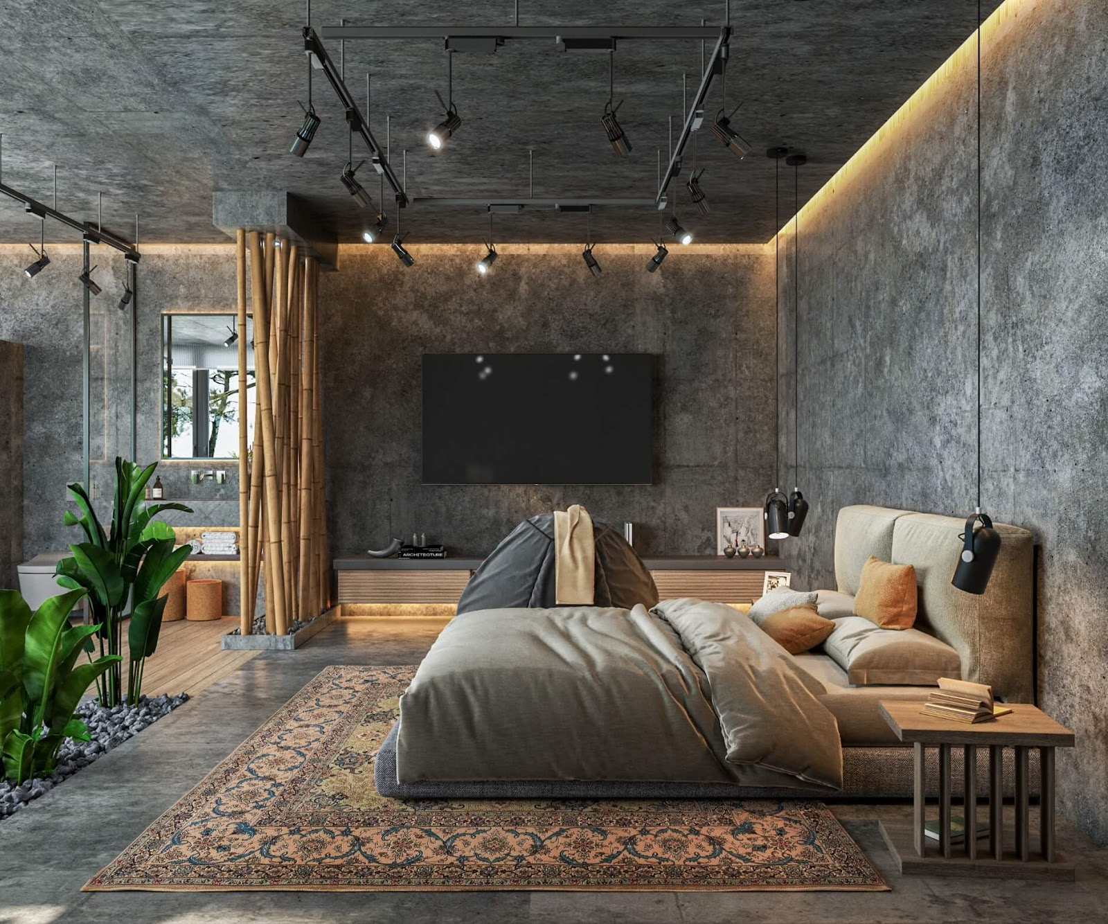 Stone Walls in a Modern Bedroom