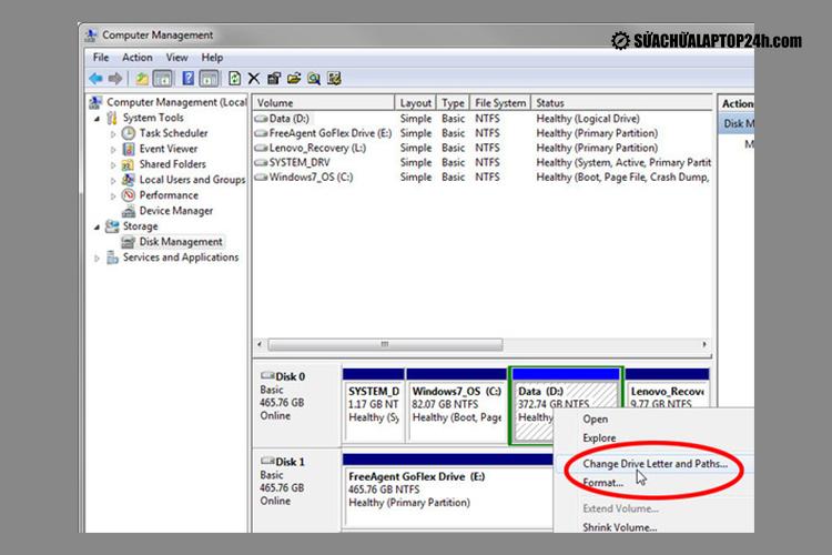 Sửa lỗi bằng Disk Management
