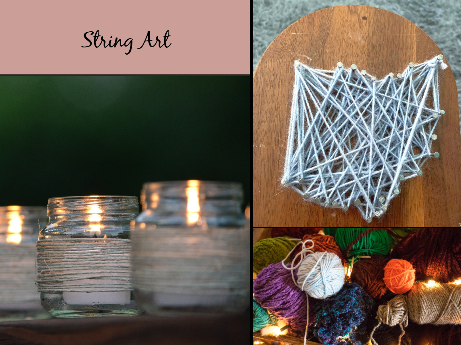 Images of string art decor DIY projects