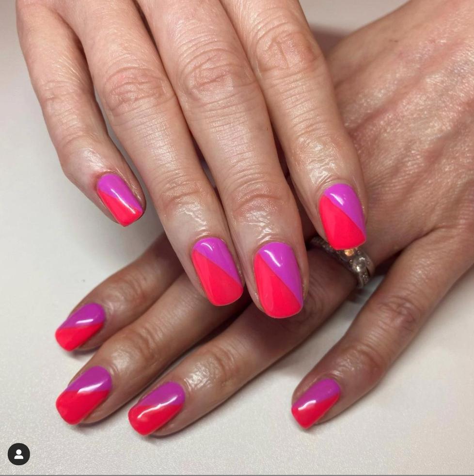 pink and magenta nail art