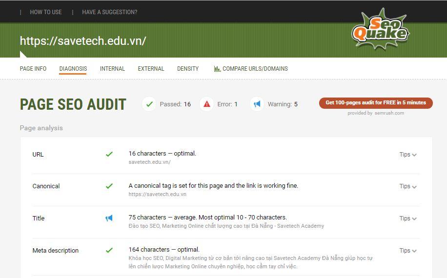 phân tích các chỉ số onpage trên Seoquake