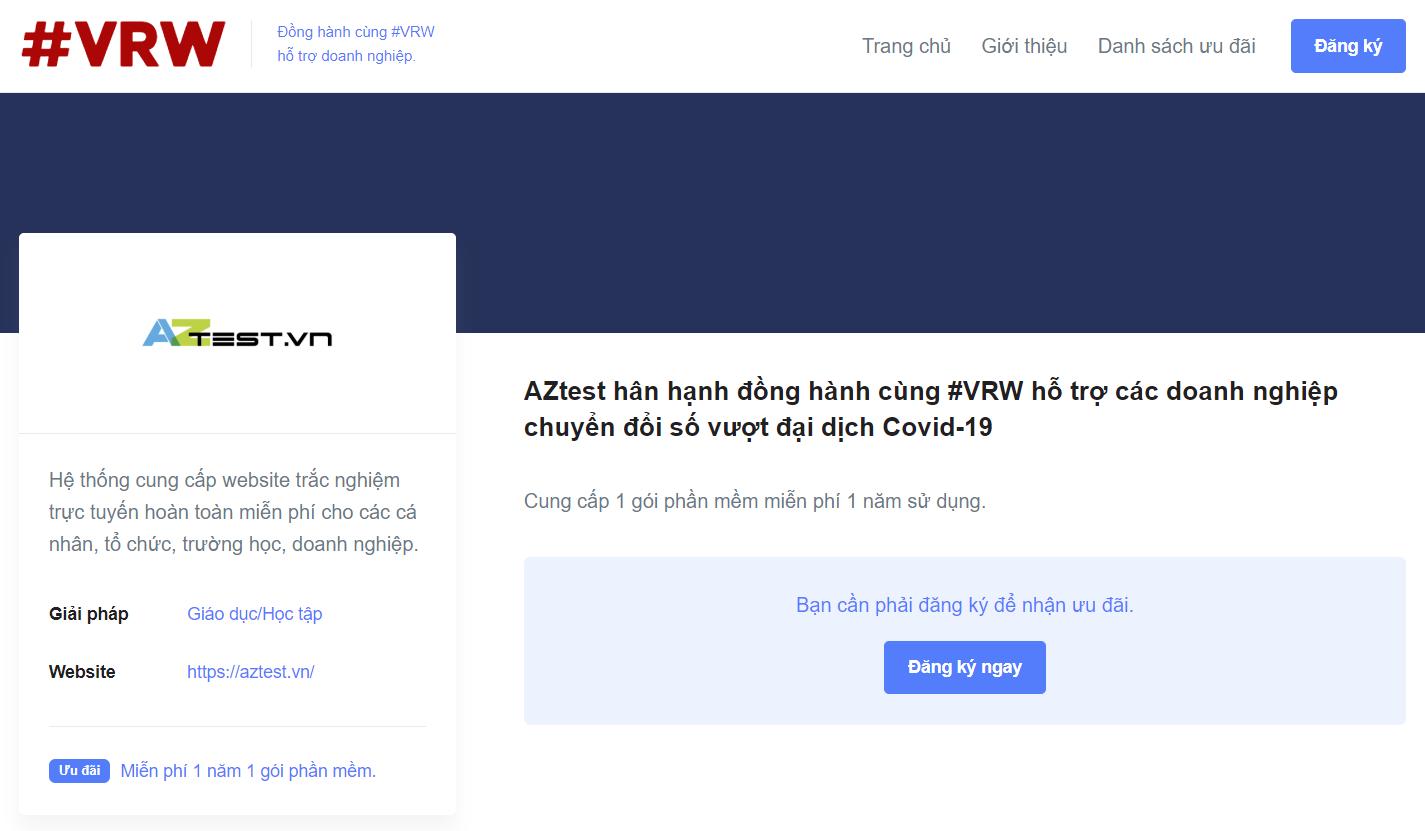 Vào trang VRW đăng ký và nhận ưu đãi sử dụng