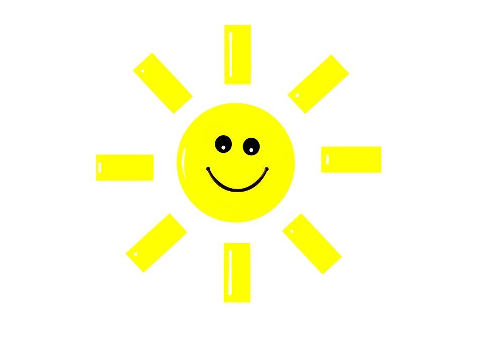 Sun, Leende, Tecknad, Ler,