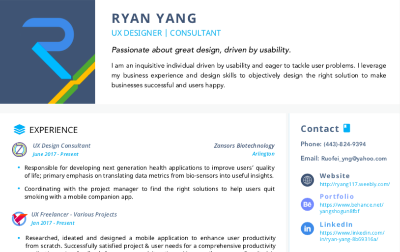 A resumé, saying Ryan Yang at the top, that prioritizes important information such as contact details.