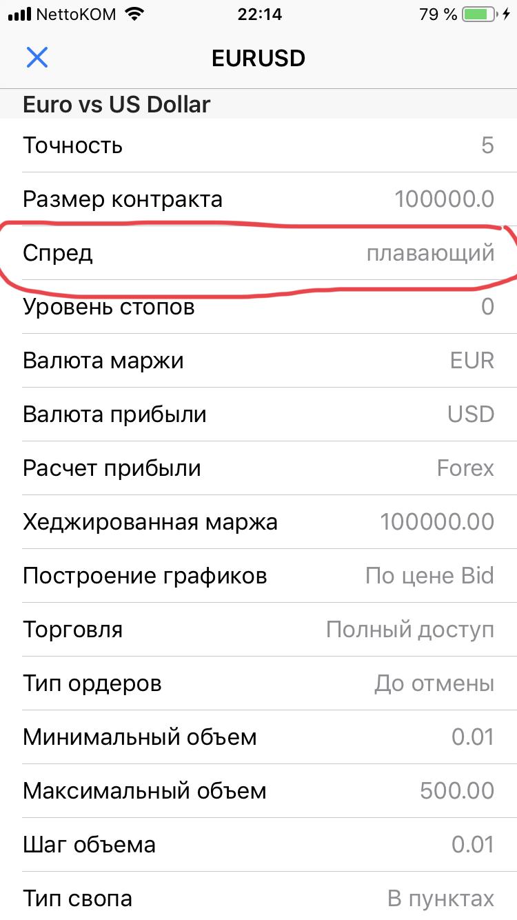 Скриншот 9. Спецификация валютной пары в мобильном терминале МТ4