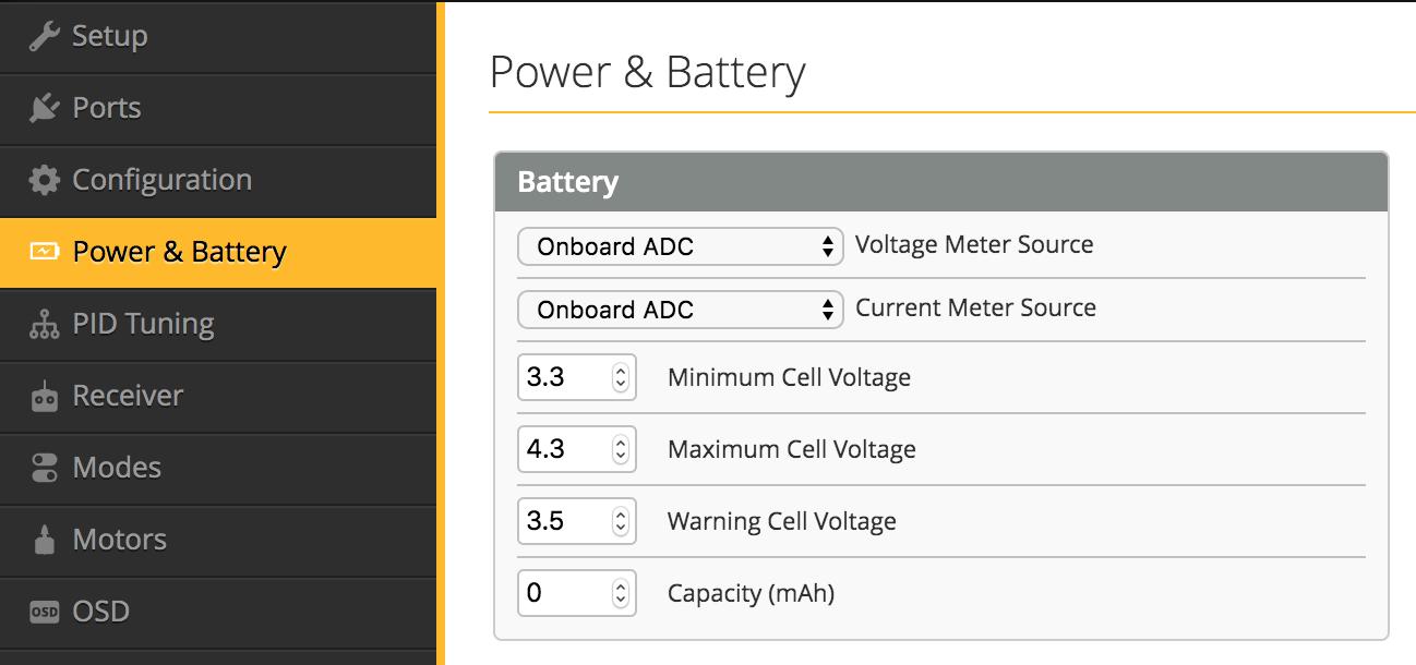 BetaFlight 4.2<2>Power & Battery・Receiver・Mode