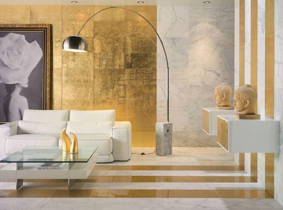 Sơn hiệu ứng Waldo - Dát vàng lá - Không gian phòng khách lãng mạn, giàu sang và phú quý